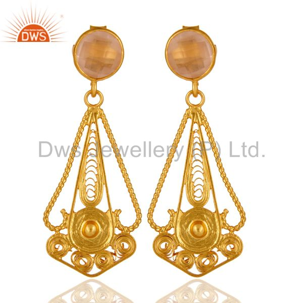 22K Gold Plated 925 Sterling Silver Rose Quartz Gemstone Designer Earring