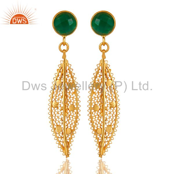18K Yellow Gold Plated Sterling Silver Green Onyx Filigree Design Dangle Earring