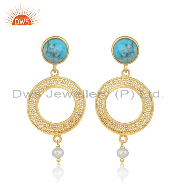 18K Yellow Gold Plated Sterling Silver Turquoise & Pearl Filigree Dangle Earring