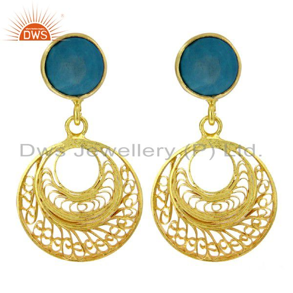 925 Sterling Silver 18k Gold Plated Lace Filigree Designer Turquoise Earrings