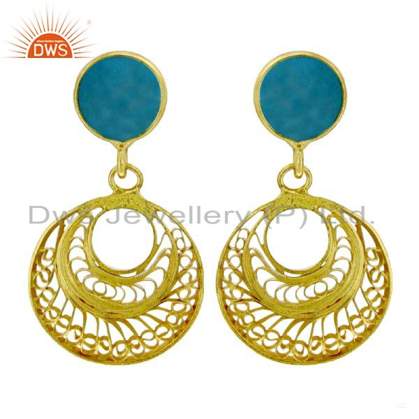 18K Yellow Gold Plated Sterling Silver Turquoise Designer Dangle Earrings