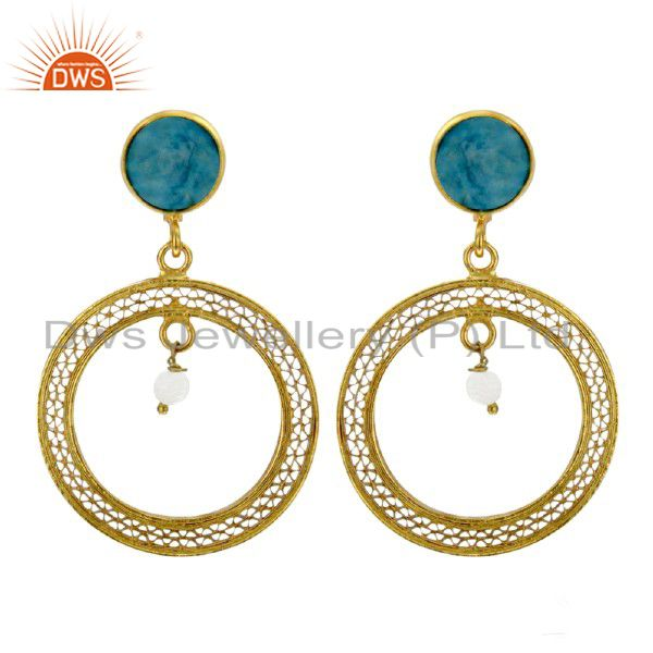 18K Yellow Gold Plated Sterling Silver Turquoise And Pearl Women Dangle Earrings
