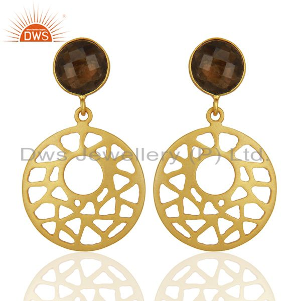 18K Gold Plated Sterling Silver Smoky Quartz Filigree Dangle Earrings