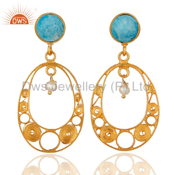 Handmade Turquoise Gemstone & Pearl 22K Gold Plated 925 Sterling Silver Earring