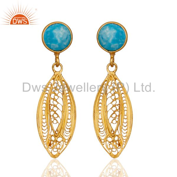 New Designer Collection 925 Sterling Silver Turquoise Gemstone Filigree Earrings