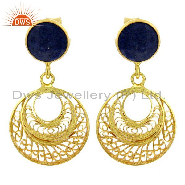 Gemstone Lapis Lazuli 18k Gold Over 925 Sterling Silver Fashion Earring Jewelry
