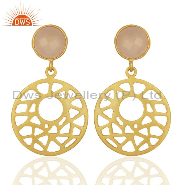 14k Yellow Gold Over 925 Sterling Silver Rose Chalcedony Filigree Dangle Earring