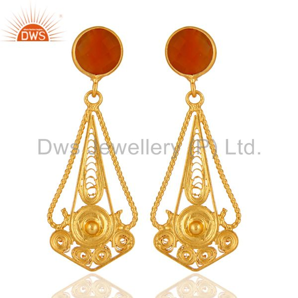 Handcarfted 18k Gold Plated 925 Sterling Silver Red Onyx Earring Jewelry