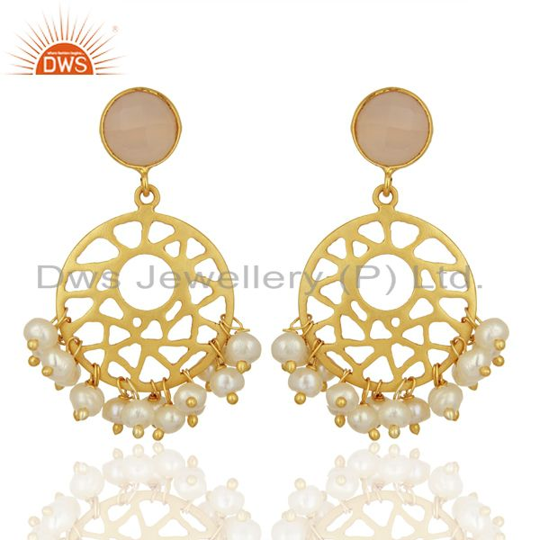 18K Yellow Gold Plated Sterling Silver Rose Quartz And Pearl Floral Earrings