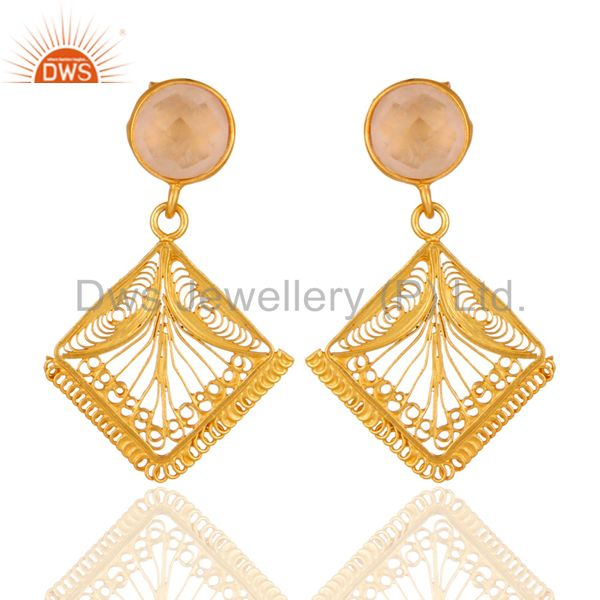 18 karat Gold Plated 925 Sterling Silver Rose Quartz Filigree Designer Earrings