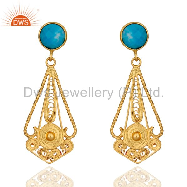 Classic Lace Designer 24K Gold Plated 925 Sterling Silver Turquoise Earrings