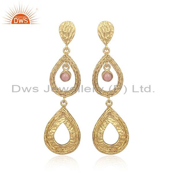 Rhodochrosite set gold on 925 silver tear drop mesh earrings