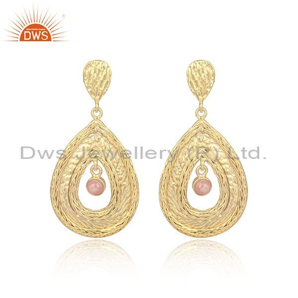 Rhodochrosite Set Gold On Silver Pear Shaped Mesh Earrings