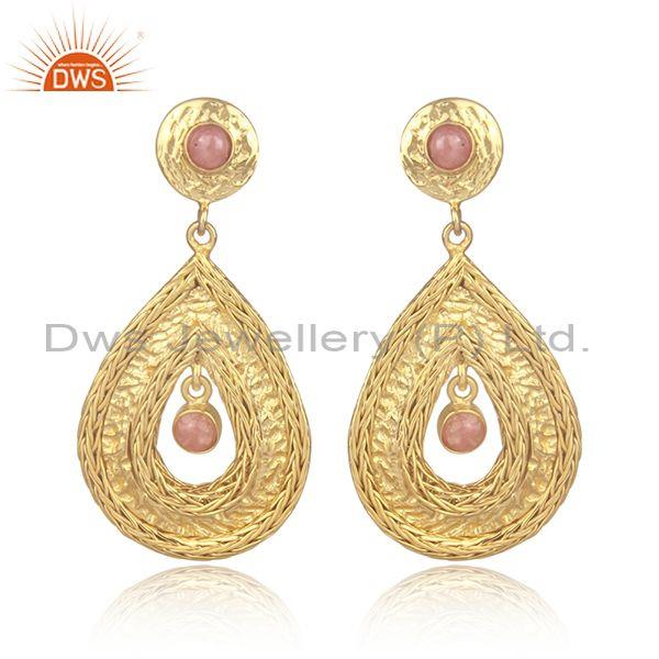 Rhodochrosite Set Gold On 925 Silver Designer Mesh Earrings