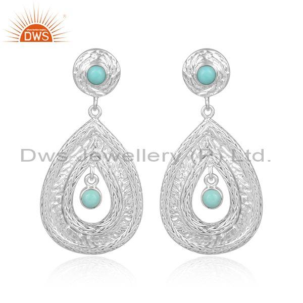 Arizona Turquoise Set Fine 925 Silver Designer Mesh Earrings
