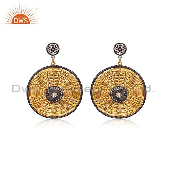 Crystal Quartz, CZ Set Round Weave Gold On Silver Earrings