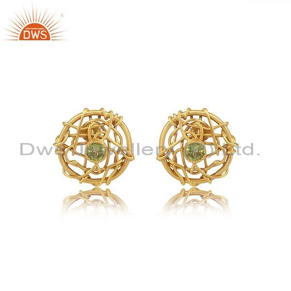 Peridot Set Gold On 925 Sterling Silver Netz Round Earrings