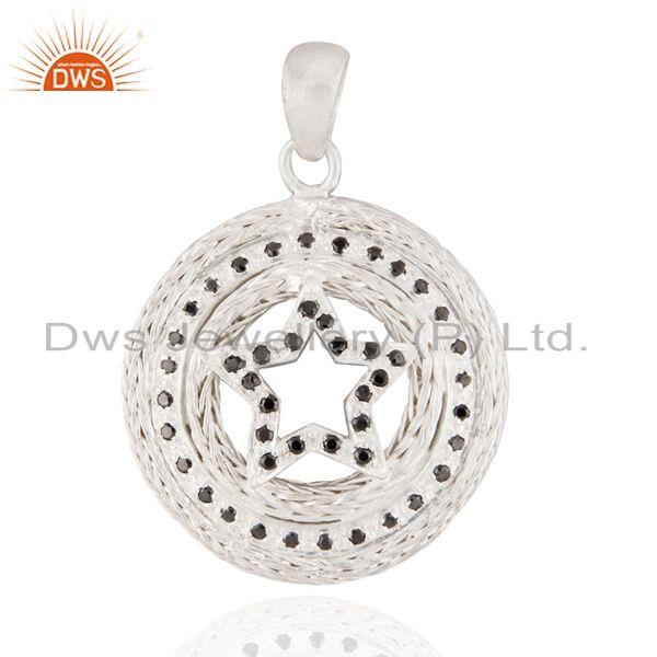 Indian Designer 925 Sterling Silver Black Zircon Matte Finish Star Pendant