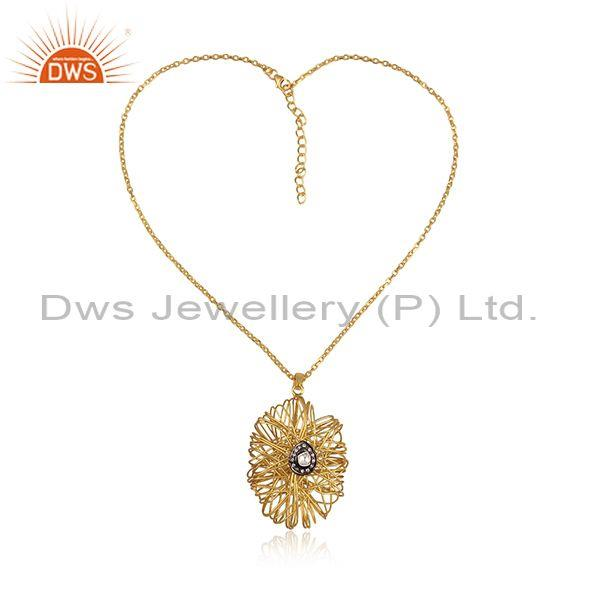 18k yellow gold plated silver cubic zirconia wire wrapped pendant with cord