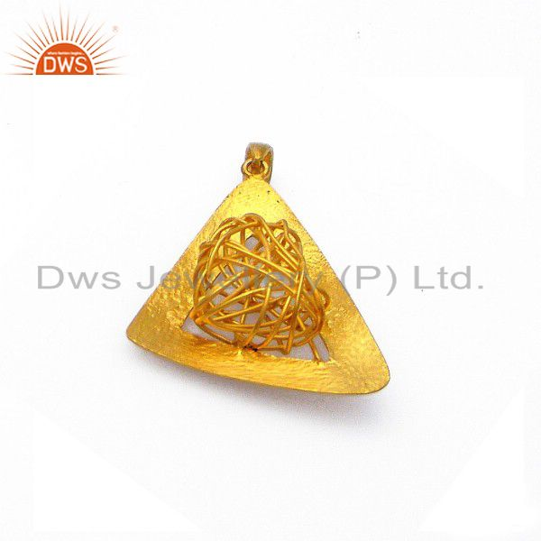 24K Yellow Gold Plated Sterling Silver Wire Woven Designer Pendant