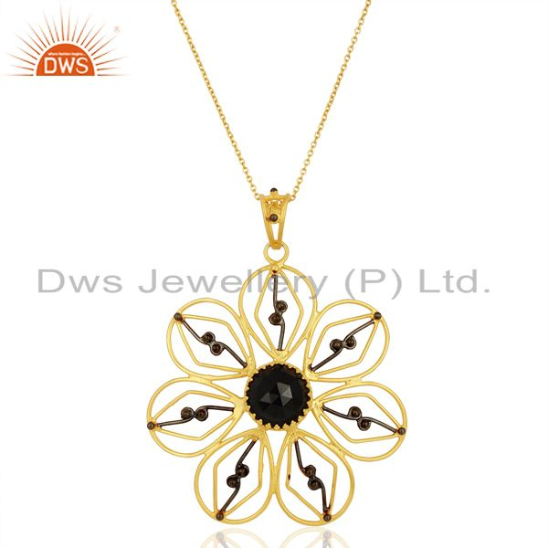 Natural Black Onyx Gemstone Flower Design Silver Pendant Supplier