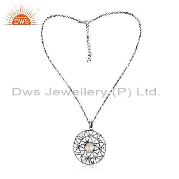 Pearl set round oxidized sterling silver pendant and chain