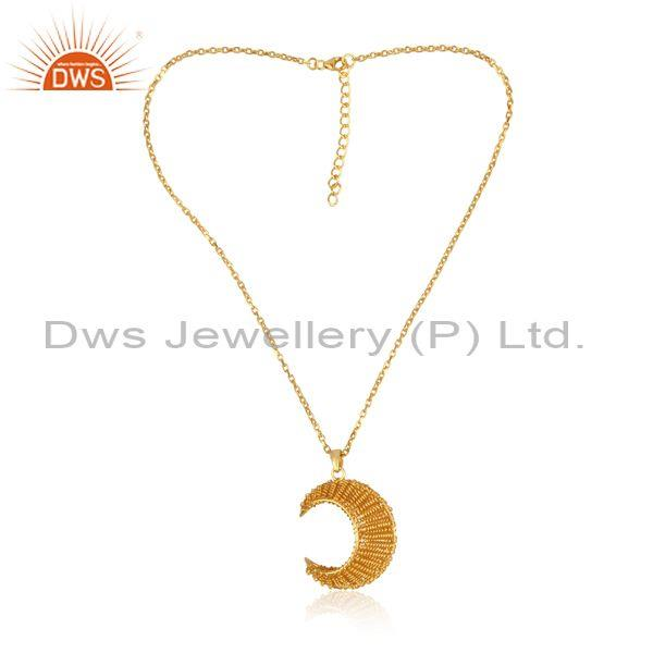 Handmade gold on 925 sterling silver luna pendant and chain