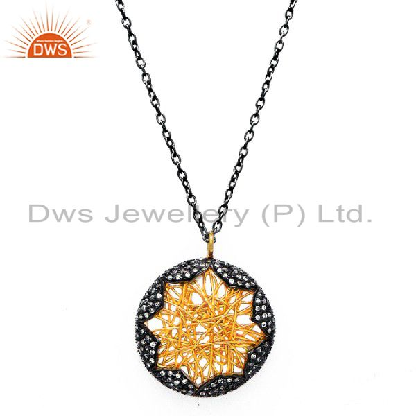 Oxidized And 18K Gold Plated Sterling Silver CZ Wire Woven Pendant Necklace