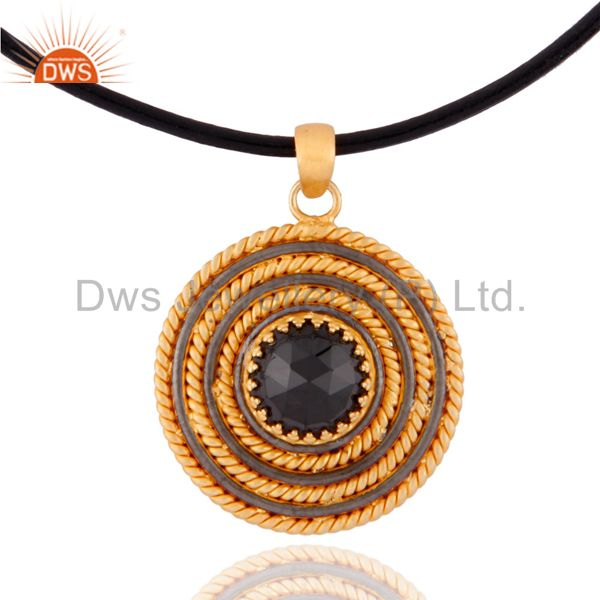 Black Onyx Twisted Wire 925 Sterling Silver 18k Gold Plated Circle Pendant 16""