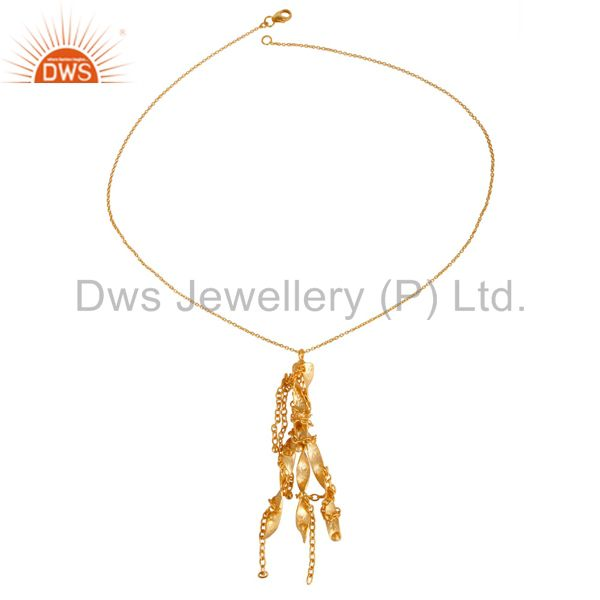 Unique handmade 24k yellow gold plated 925 sterling silver designer pendant