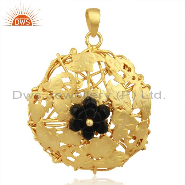 Black Onyx Carved Unique One Time Flower Gold Pendent Boutique Jewelry