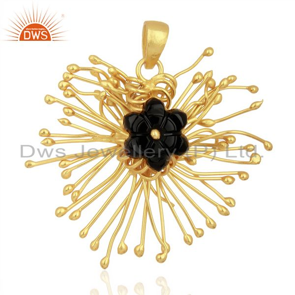 Black Onyx Unique One Time Flower Gold Pendent Boutique Jewelry