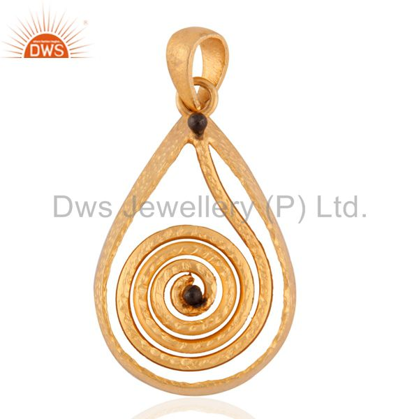 Quality Hand Crafted Cute Spiral 925 Silver 18k Gold Plated Pendant Jewelry