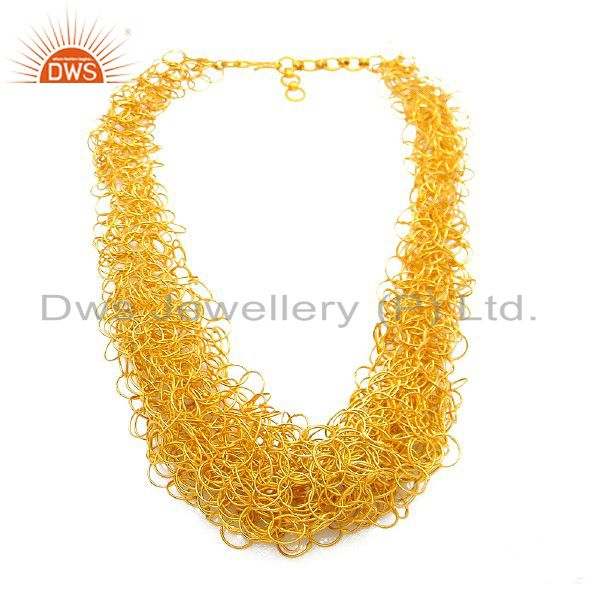18K Yellow Gold Plated Sterling Silver Wire Woven Bib Necklace