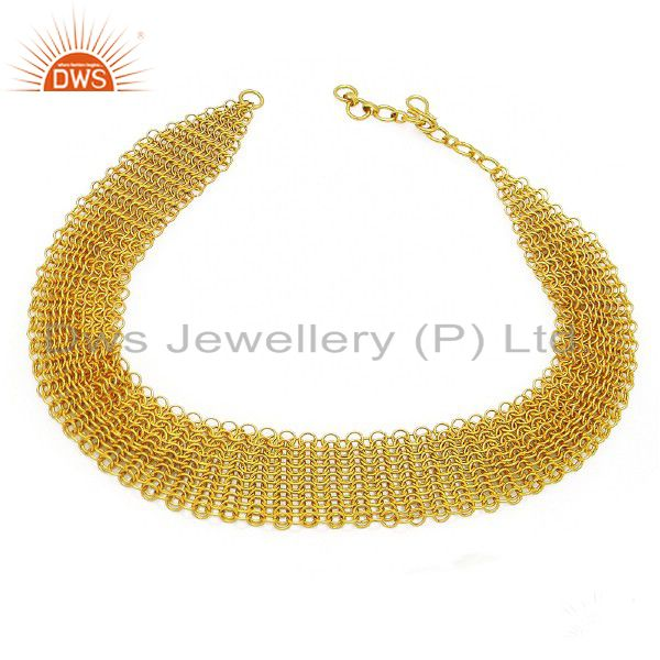 18K Yellow Gold Plated Sterling Silver Intricately Braided Bib Necklace