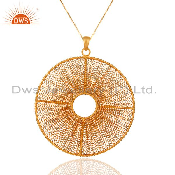 18k gold plated 925 sterling silver beautiful wire spring designer style pendant