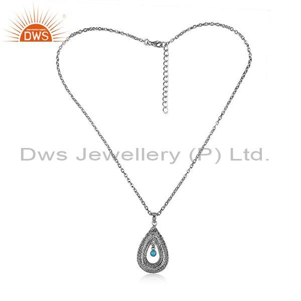 Turquoise Set Oxidized 925 Sterling Silver Pendant And Chain