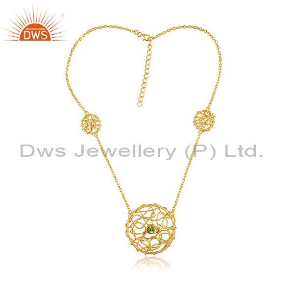 Peridot round netz pedant and gold on sterling silver chain