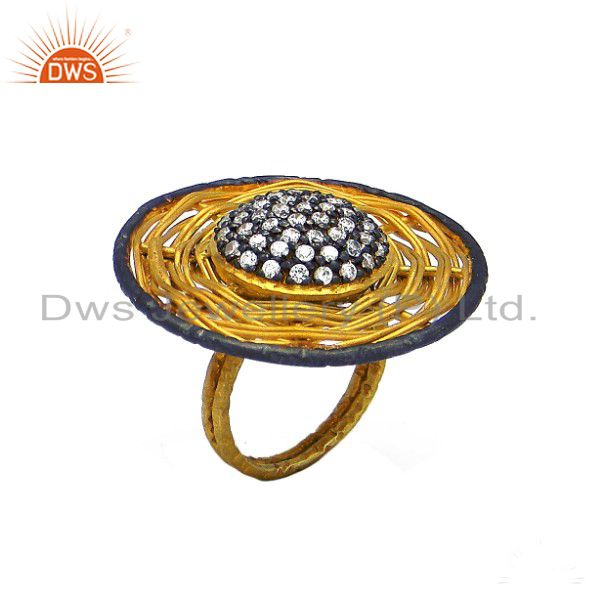 22K Yellow Gold Plated Sterling Silver Cubic Zirconia Woven Cocktail Ring