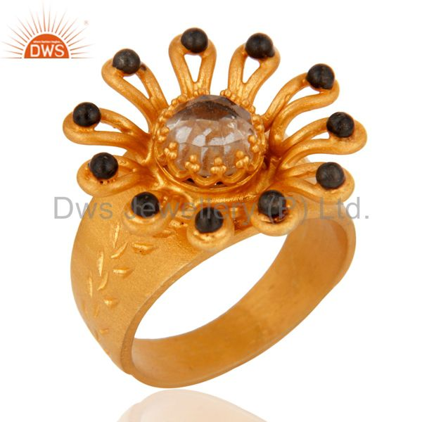 18K Yellow Gold Plated 925 Sterling Silver Crystal Quartz Cocktail Ring