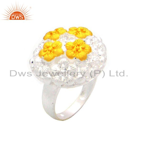 925 Sterling Silver Floral Design Cocktail Ring With 18K Gold Plated