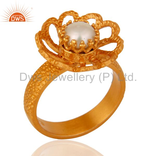 18K Yellow Gold Plated Sterling Silver Pearl Textured Lotus Flower Cocktail Ring