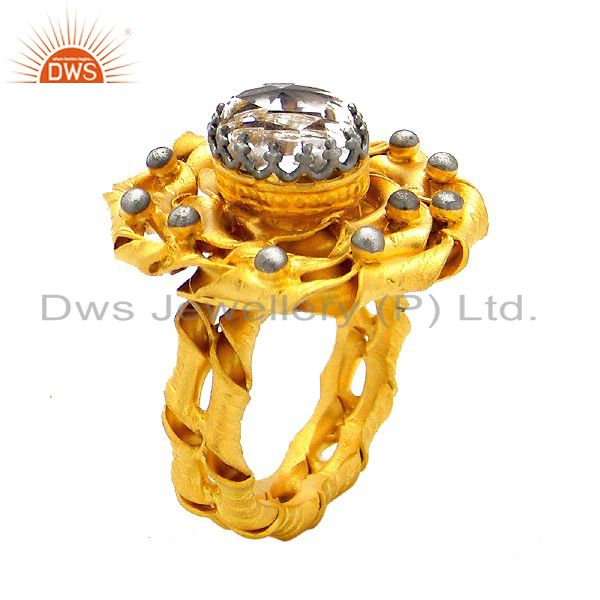 Handcrafted Sterling Silver Crystal Quartz Ring - Yellow Gold Plated