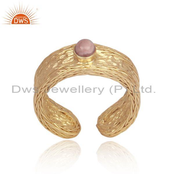 Rhodochrosite set handmade gold on silver cuff bangle