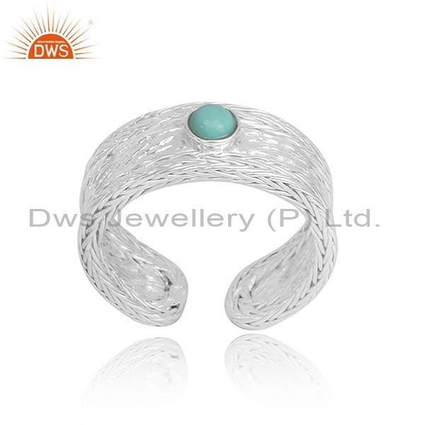 Arizona turquoise set handmade fine silver cuff bangle