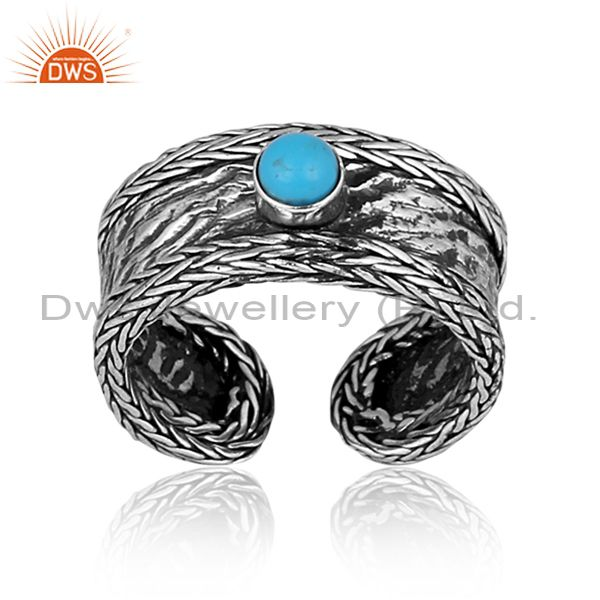 Round Turquoise Set Oxidized Sterling Silver Band Type Ring
