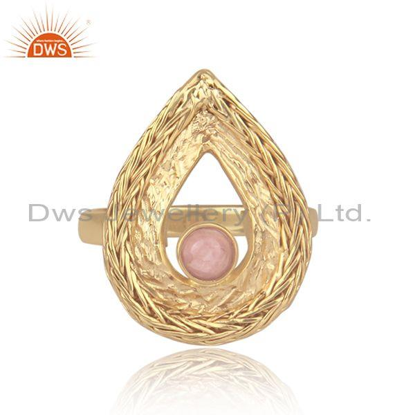Rhodochrosite Set Gold On Silver Mesh Wire Tear Drop Ring