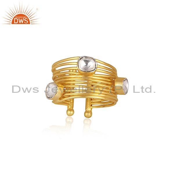 Round Crystal Quartz Set Gold On Silver Multi Wire Band Ring