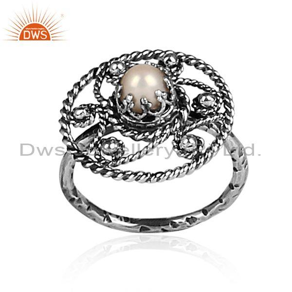Handmade and handhammered pearl set oxidized 925 silver ring