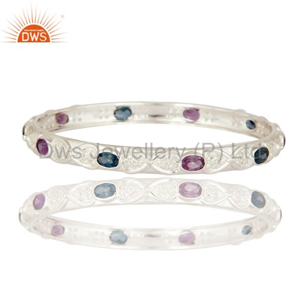 Designer Amethyst And London Topaz Blue Sterling Silver Bangle With White Topaz